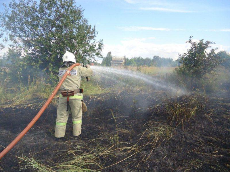 Пожарные на весеннем поджоге травы